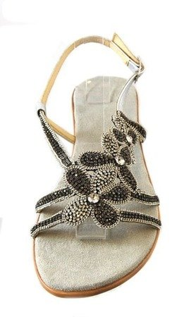 Donna Fabiani stylowe skórzane klapki KG10 Pewter