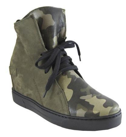 Eksbut sneakersy botki skórzane oliwkowe moro 4636
