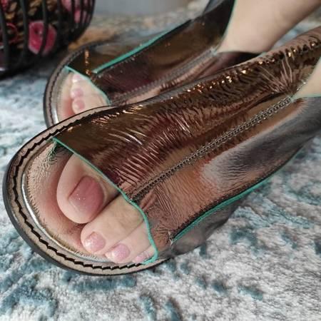 Włoskie sandałki nikiel z zielenią  1520066LL Tuffoni