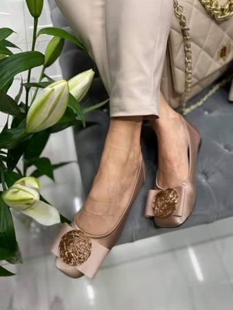 Włoskie skórzane apricot Nude balerinki 2421003LL Tuffoni
